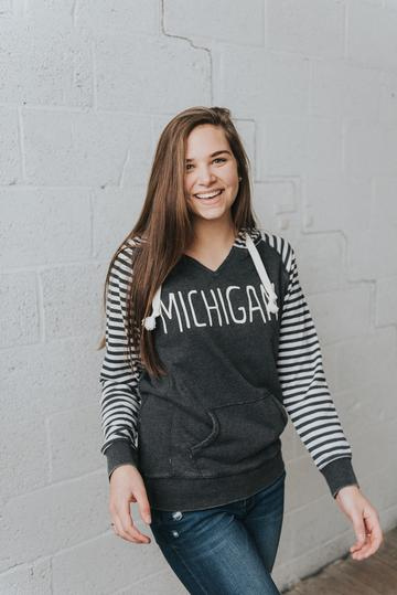 Simply Stated - Michigan ~ Striped Comfy Sweatshirt