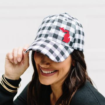 Simply Stated - Hat // Michigan ~ White Plaid Flannel Hat + Red Felt MICHIGAN