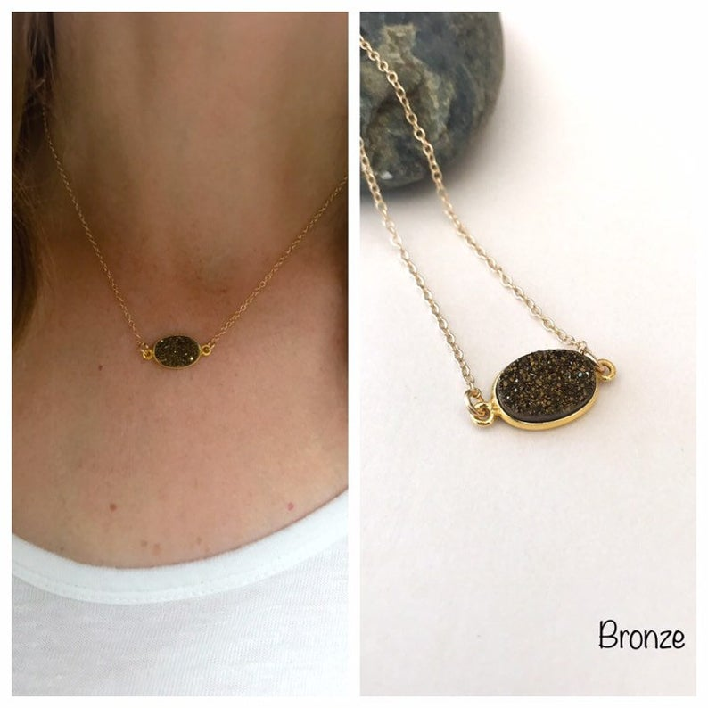 Magpie Studio + Co - Bronze Oval Druzy Necklace (Gold)