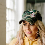 Simply Stated - Hat // Michigan ~ CAMO Vintage Floral Michigan Trucker Hat