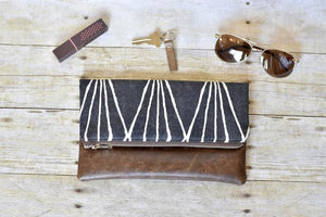 Charcoal and White Fold Over Clutch