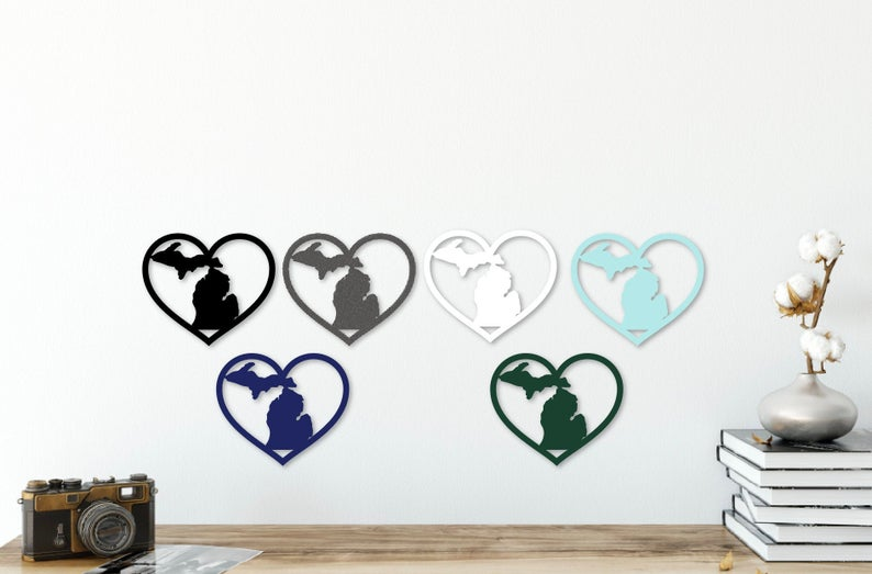 Michigan Metal Small Hearts (Multiple Color Options)