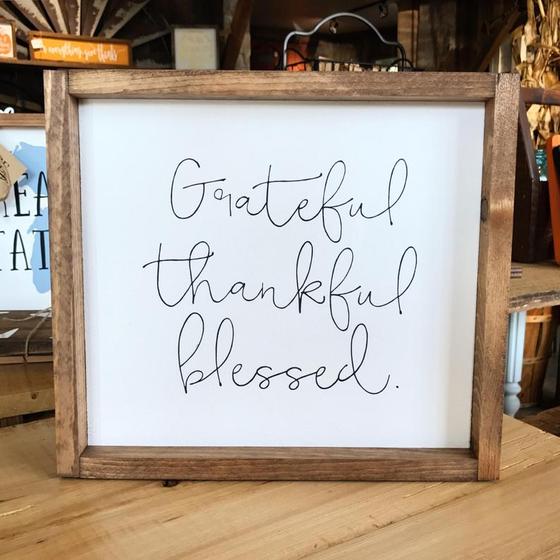 4Love - Grateful Thankful Blessed (Framed Sign)