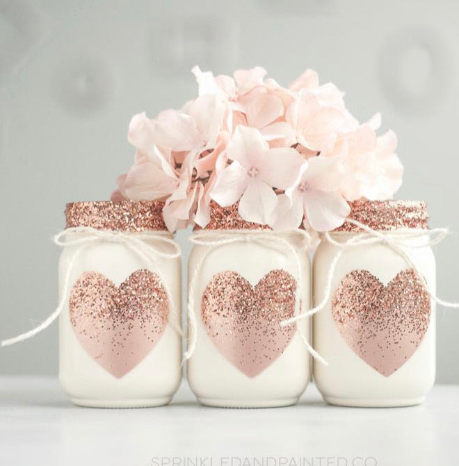 Sprinkled and Painted- Rose Gold Heart Mason Jar