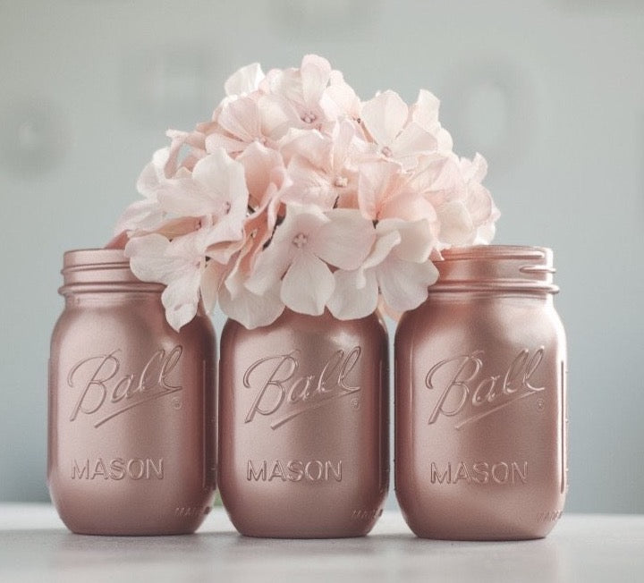 Sprinkled and Painted- Rose Gold Mason Jar