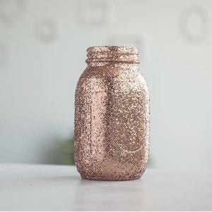 Sprinkled and Painted- Rose Gold Glitter Mason Jar