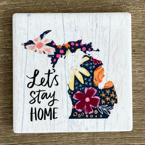 Let's Stay Home Sandstone Coaster