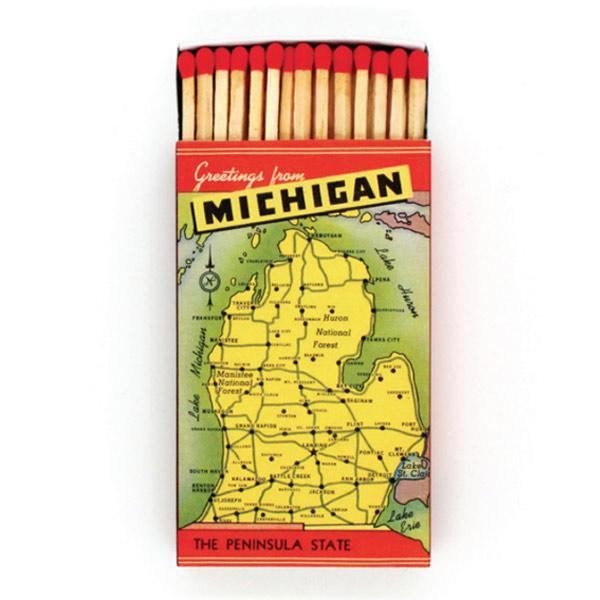 "Greetings from Michigan Extra-Long 4"" Matches"
