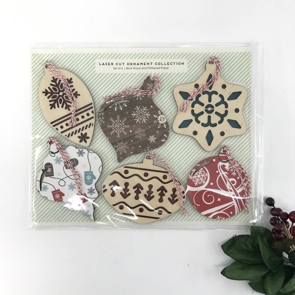 Makery Maven Co. - Patterned Ornament Set of 6 | Lasercut Wood + Paper