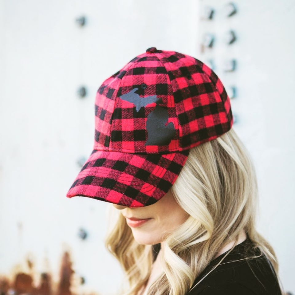 Simply Stated - Hat // Michigan ~ Red Plaid Flannel Hat + Black Felt MICHIGAN