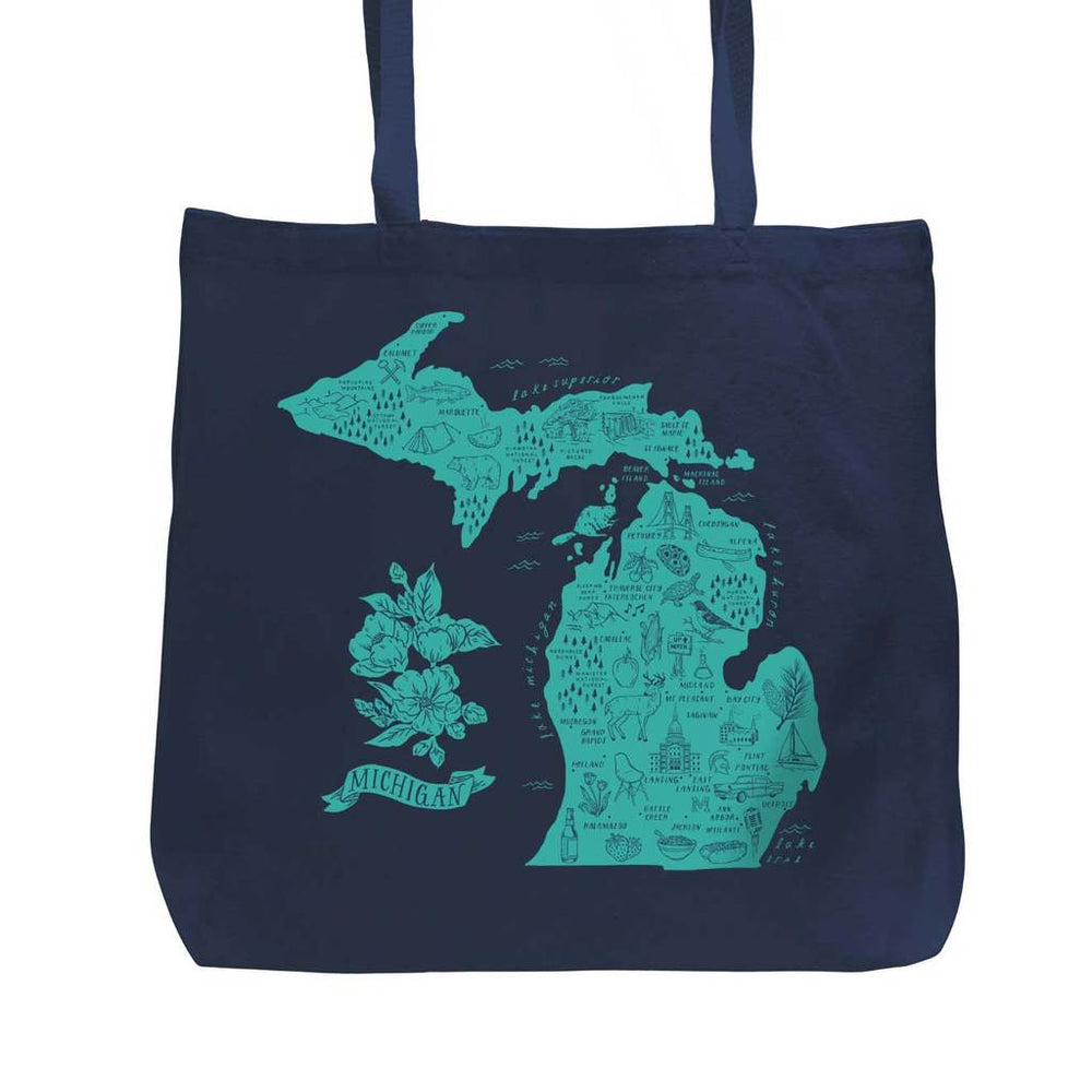 City Bird - Illustrated Michigan Map Navy Blue/Turquoise Tote