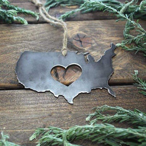 BE Creations & Designs, Inc. - United States of America Rustic Steel Ornament with Heart