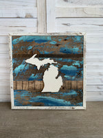 Michigan Barnwood Signs- 15 x 15  (Multiple Colors)