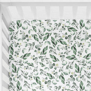 Our fitted cot sheets are soft and breathable, 100% cotton. Perfect for your sleeping baby.  Fits Australian cot up to 135cm x 75cm, cot sheets feature a fully encased elastic and fit Boori cots. Print has green leaves on white and is gender neutral