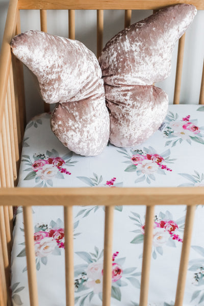 Baby girl Floral fitted cot sheet 100% cotton. Baby pink and dark pink on white background 135cm x 75cm