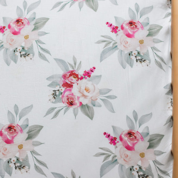 Deep pink and baby pink rustic flowers with white background. Fitted sheet for a baby girl 135cm x 75cm fitted cot sheet 100% cotton