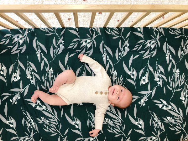Organic cotton Fitted Cot sheets measure 135cm x 75cm so they fit Australian Boori cots. Our fitted cot sheets are 100% organic cotton making them soft and breathable, perfect for your sleeping baby. The Eucalyptus print is deep green with white and lighter green leaves.