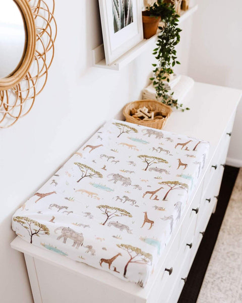 Safari Fitted Bassinet Sheet multipurpose Change Pad Cover for your convenience. Made from soft, stretch cotton jersey, it fits cane bassinets. Style your nursery or cane bassinet with Safari bassinet sheet multipurpose change pad cover
