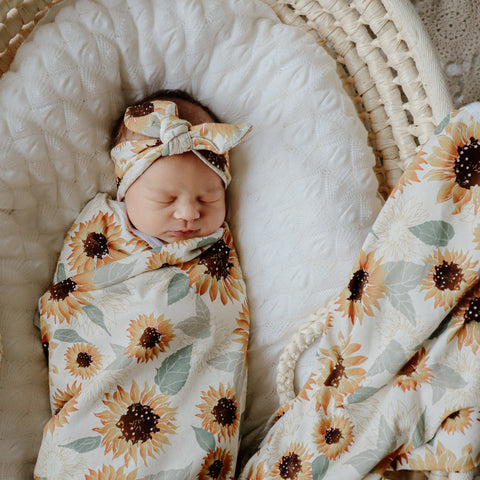 Sunflowers Stretch Wrap & Top Knot Set ***BACK ORDER***