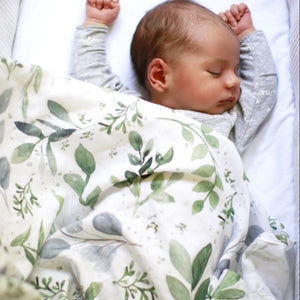 Watercolour leaves organic muslin wrap will keep your baby cosy during sleep. This muslin wrap has a Gender neutral print and is 100% organic cotton, making it soft, lightweight and breathable. Watercolour printed Muslin wrap has green leaves on white. Our wraps measure 120cm x 120cm. Use wraps to swaddle or as a baby snuggle blanket.