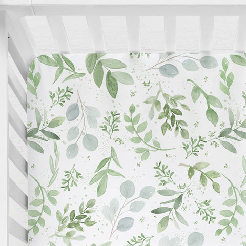 Watercolour Leaves Fitted Cot Sheet