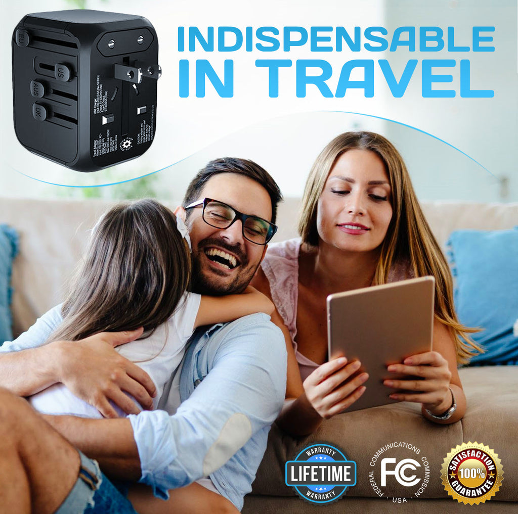 Travel Adapter, Galidora Universal Travel Power Adapter Type C + 3 USB Fast Charging International World Power Plug Adapter Kit Wall Adapter USB Charger UK, EU, AU, US 200 Countries, USB Wall Charger