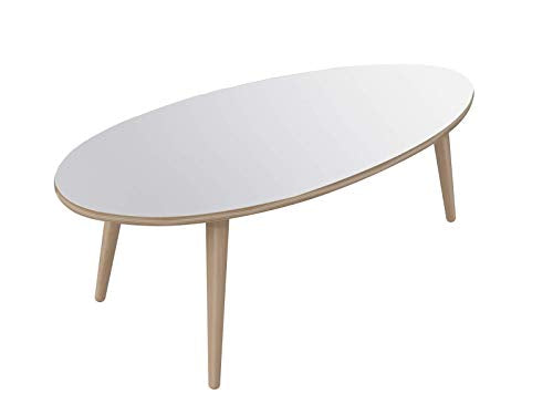 Marque Amazon - Movian - Table basse ovale Adour Modern, 55 x 110 x 39, Blanc