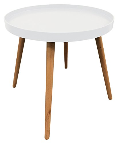 THE HOME DECO FACTORY HD3193 Table Plateau Ronde, MDF, Blanc, 50,1x50,1x44,3 cm