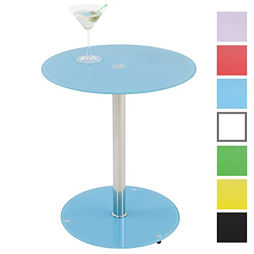 Albatros Table en Verre Sunset, Bleu, Table d'appoint Ronde, Hauteur 50cm, Table de Cocktail/Table Basse