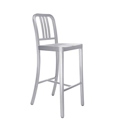 XINGPING Navy Bar Tout en Aluminium Retour Chaise de Bar Café Table Et Chaise Combinaison Tabouret Haut Café Table Et Chaises Tabouret De Bar (Couleur : 66cmsitting High)