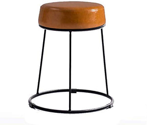 WXF Petit Tabouret Fer Art, Salon De Ménage Chambre Cuir Tabouret en Métal Tabouret Canapé Triangular Support Adulte Banc Tabouret Maquillage (Color : Brown)