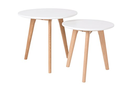 Felis Lifestyle Side Table BODINE Set of 2, Vinyle, Blanc, 50x50x45 cm