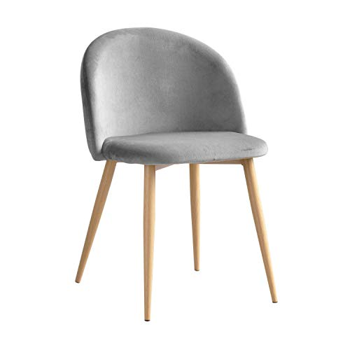 Chaise Ronde Velours Gris Clair