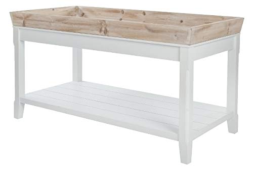 My Flair Tables Basses, MDF, placage, Blanc, Bois Vieilli, 55 x 100 cm