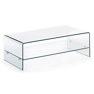 Kave Home - Table Basse Burano en Verre trempé et Transparent de Forme rectangulaire 110 x 55 cm