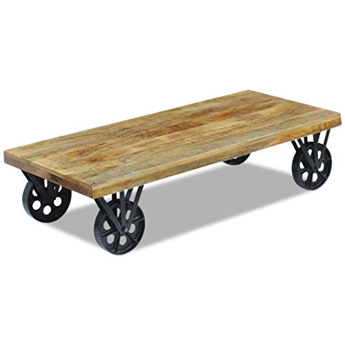 vidaXL Table Basse pour Salon Table d'appoint en Bois de manguier 120 x 60 x 30 cm
