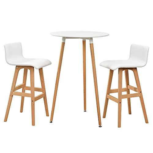 [en.CASA] Comptoir de Bar Blanc avec Tabouret de Bar hêtre Table de Bar Table Haute