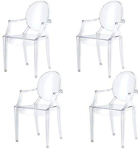 chairs4you Lot de 4 chaises Transparentes Fauteuil Cristal inspiree Louis Ghost Sejour Salle a Manger Dressing Bureau