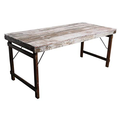 MATHI DESIGN Table Blanche Vintage Pliante