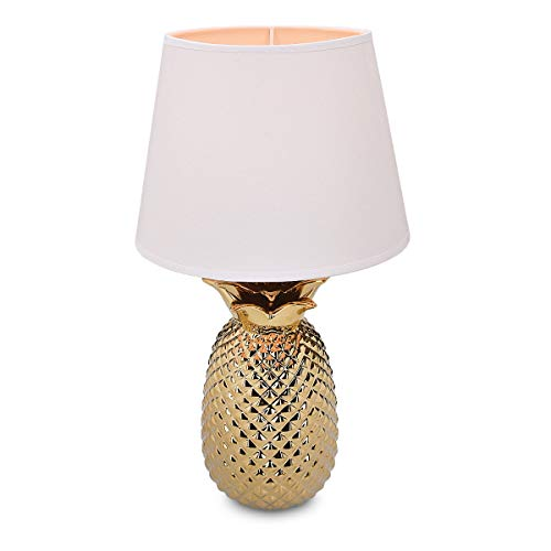 Navaris Lampe LED Forme Ananas - Lampe de Chevet et Veilleuse Design 40 cm en Forme d'Ananas - Lampe de Table Décorative Salon Chambre - Or/Blanc