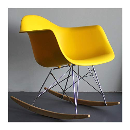 UPOLW-B Fauteuil à Bascule en Plastique Simple, Chaise Longue de terrasse Eames Lazy Couch - Sélection Multicolore 1203-YY (Color : Jaune)