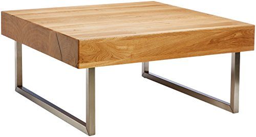 HomeTrends4You 266222 Table Basse en chêne Massif huilé, 75 x 35 x 75 cm