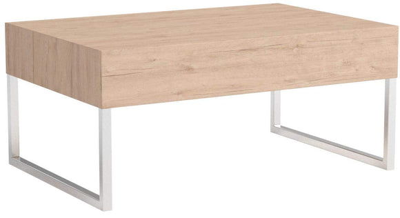 Mobili Fiver, Table Basse, Evo XL, Chêne Naturel, 90 x 60 x 40 cm, Mélaminé/Fer Chromé, Made in Italy