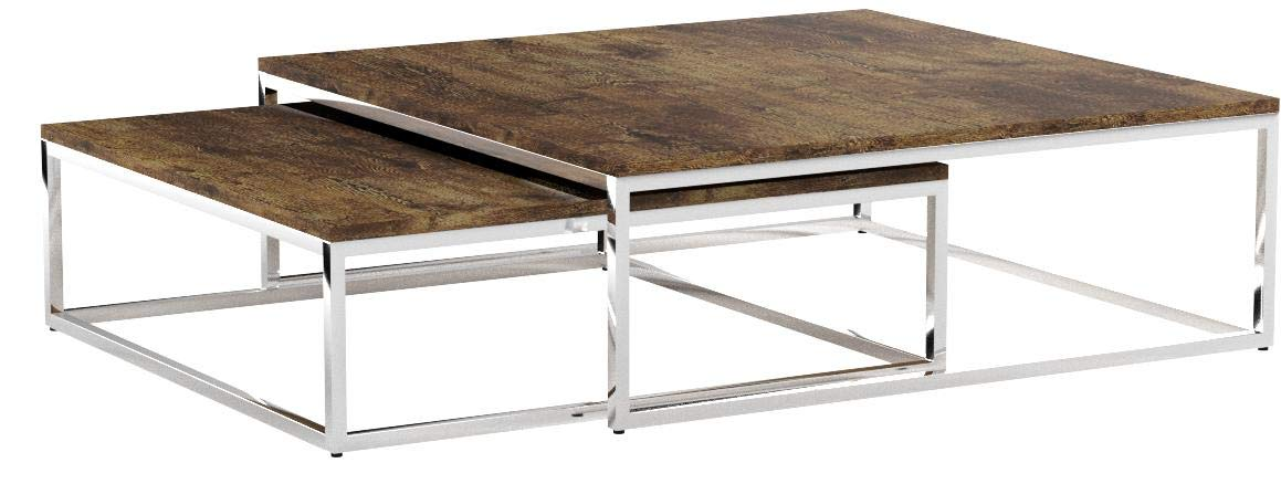 Relaxdays Table Basse Avec Plateau En Bois Flat Lot De 2 Nature