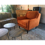 MATHI DESIGN Soft - Fauteuil Confortable en Tissu Velours Orange