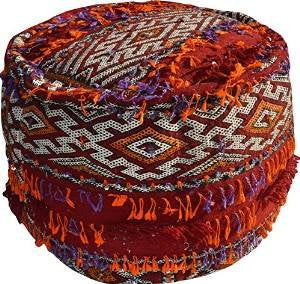 Large Vintage Round Piped edge Moroccan Handmade Red Sequinned Berber Kilim Stool (Filled) - Di 56 H cm by MAISON ANDALUZ
