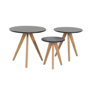 Beliani Tables Basses - Lot de 3 Tables d'appoint Noir Vegas