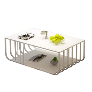 Table basse Cadre en acier industriel vent café Table carrée artificielle Conseil Countertop End Table for Salon Canapé thé Tables basses de salon (Color : White)