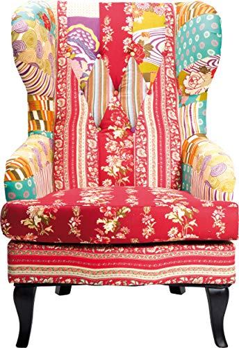 Kare design – Chaise Patchwork Aile, Tissu, Rouge/Multicolore