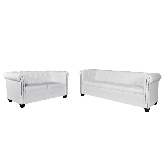 vidaXL Canapé Chesterfield de 2 places et 3 places Blanc Mobilier de salon Sofa